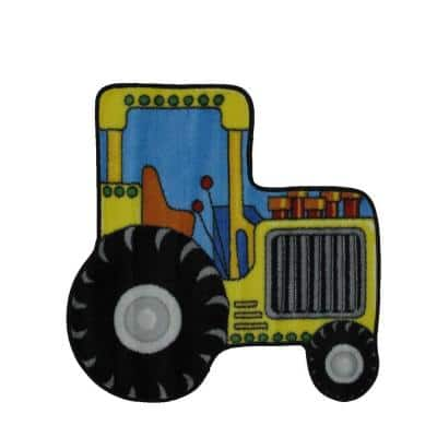 Fun Time Shape Tractor Multi Colored 3 ft. x 3 ft. Area Rug