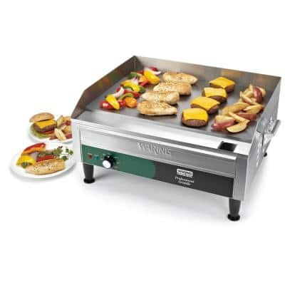Silver Countertop Electric Griddle - 384 in. - 240-Volt, 3300-Watt (24 in. x 16 in. Cooking Surface)