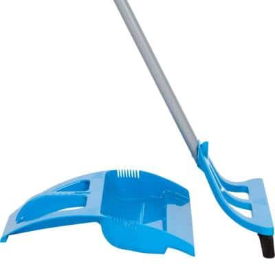 Blue 90-Degree Angle 1-Handed Broom with Dustpan and Telescoping Handle with Bristle Seal Technology (3-Piece/Set)