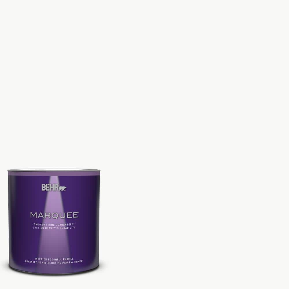 Behr Marquee 1 Qt Ultra Pure White Eggshell Enamel Interior Paint Primer 245004 The Home Depot
