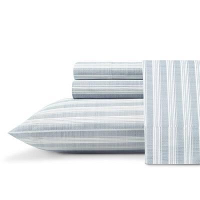 Maldive Stripe 4-Piece Navy Blue Cotton Queen Sheet Set