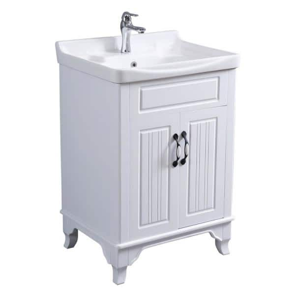 Renovators Supply Manufacturing Adeline 24 1 4 In Large Wall Mounted Bathroom Vanity Sink Combo In White With Faucet Drain And Overflow 22224 The Home Depot