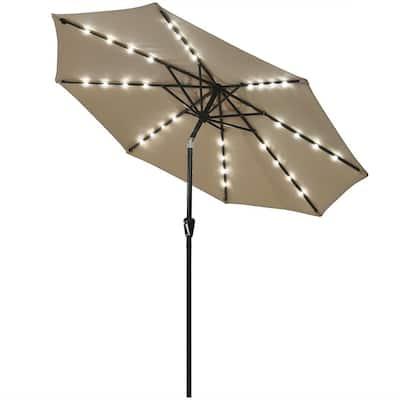 9 ft. Iron Market Solar Tilt Patio Umbrella in Tan