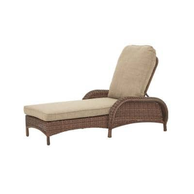Beacon Park Brown Wicker Outdoor Patio Chaise Lounge with Sunbrella Beige Tan Cushions