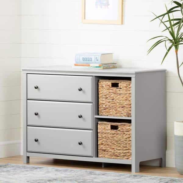 South Shore Cotton Candy 3-Drawer Soft Gray Dresser   The Home Depot
