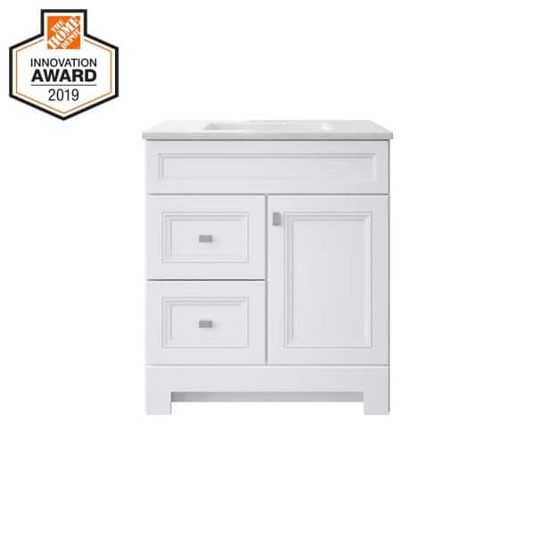 Home Decorators Collection Sedgewood 30 1 2 In W Bath Vanity In White With Solid Surface Technology Vanity Top In Arctic With White Sink Pplnkwht30d The Home Depot