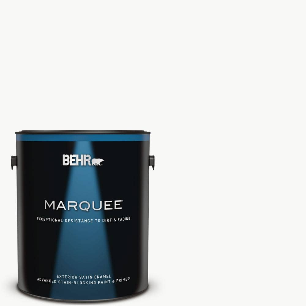 Behr Marquee 1 Gal Ultra Pure White Satin Enamel Exterior Paint Primer 945001 The Home Depot