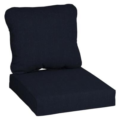 24 in. x 22 in. CushionGuard Midnight 2-Piece Deep Seating Outdoor Lounge Chair Cushion