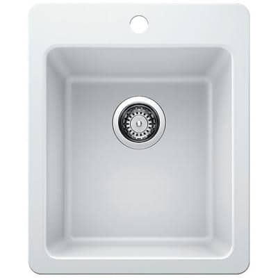 Dual Mount Granite Composite 17 in. Single Bowl Bar Sink in White with Faucet