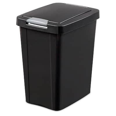 7.5 Gal. TouchTop Wastebasket Storage Bin with Titanium Latch in Black (4-Pack)