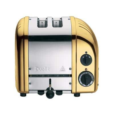 New Gen 2-Slice Brass Wide Slot Toaster with Crumb Tray