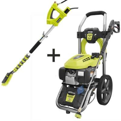 3100 PSI 2.3 GPM Honda Gas Pressure Washer and Extension Pole with Brush