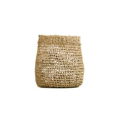 Concave Cylindrical Sparsely Hand Woven Wicker Seagrass Small Basket without Handles