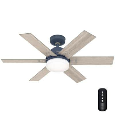 Pacer 44 in. Indoor Indigo Blue Ceiling Fan with Light Kit and Remote