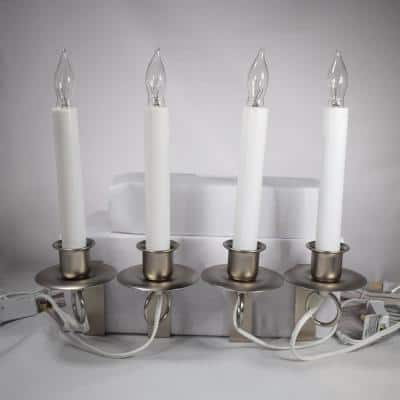 12 in. Electric Christmas Window Candles with Pewter Holder (Set of 4)