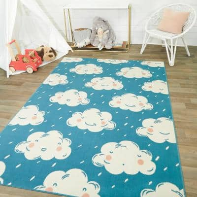 Happy Clouds Teal 5 ft. x 7 ft. Area Rug