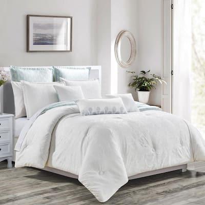 8-Piece White Luxury Reversible Embroidery Microfiber Queen Comforter Set