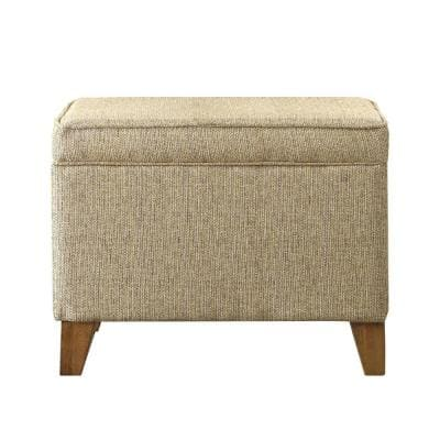 18 in. H Brown Rectangular Fabric Upholstered Wooden Ottoman with Lift Top Storage