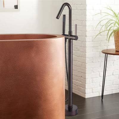 Freestanding Single-Handle Bathtub Faucet with Hand Shower in Oil Rubbed Bronze