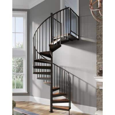 Condor Black Interior 60in Diameter, Fits Height 102in - 114in, 1 36in Tall Platform Rail Spiral Staircase Kit