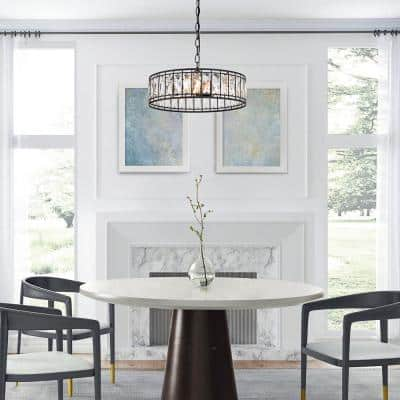 Cristallo 3-Light Modern Black Chandelier Transitional Empire Dining Room Island Drum Chandelier with Crystal Shade