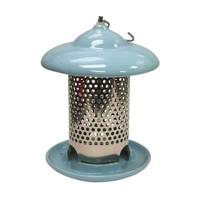 Bird Stop Blue Ceramic Wild Bird Feeder