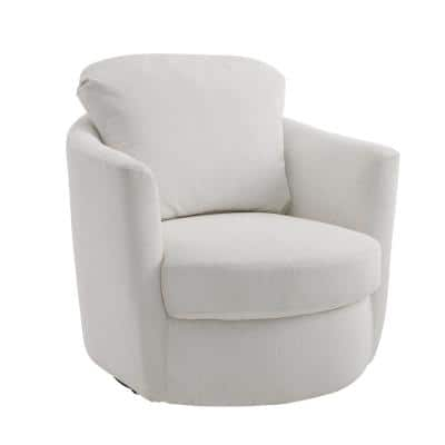 Ivina Ivory Corduroy Swivel Barrel Chair