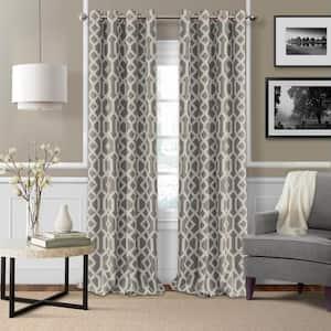 Gray Trellis Blackout Curtain - 52 in. W x 84 in. L