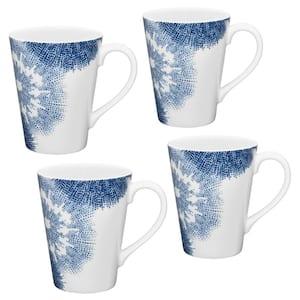 Aozora Blue/White Porcelain Mugs (Set of 4) 12 oz.