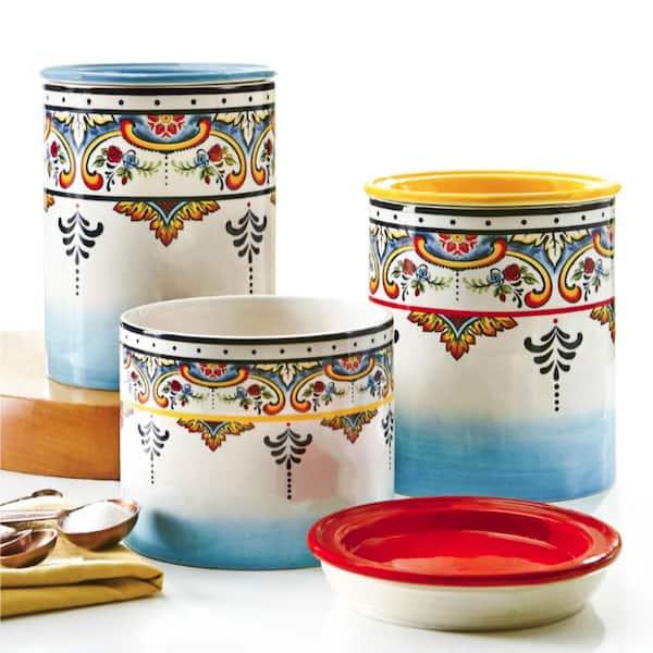 Euro Ceramica Zanzibar 3 Piece Ceramic Canister Set Yc Zb 1007 The Home Depot
