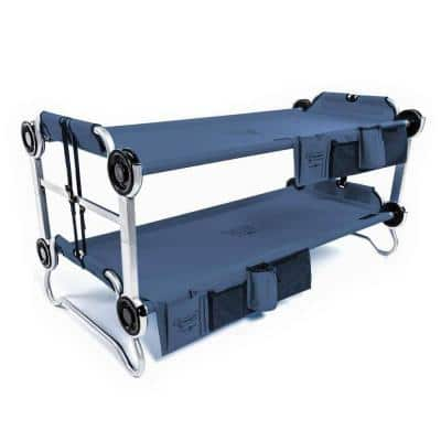 Youth Kid-O-Bunk Benchable Double Cot with Organizers, Navy