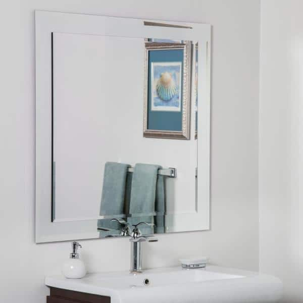 Decor Wonderland 35 In X 35 In Large Frameless Square Beveled Edge Vanity Mirror Dwsm501s The Home Depot