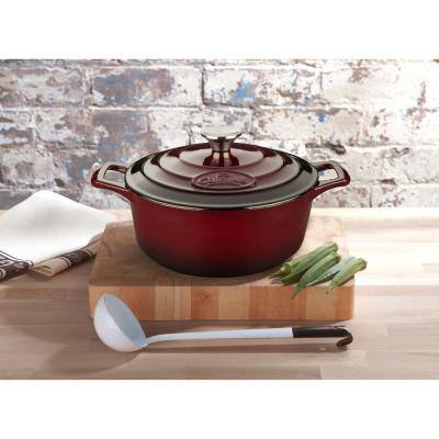 PRO Range 6-Piece Cast Iron Casserole Dishes Set in Ruby