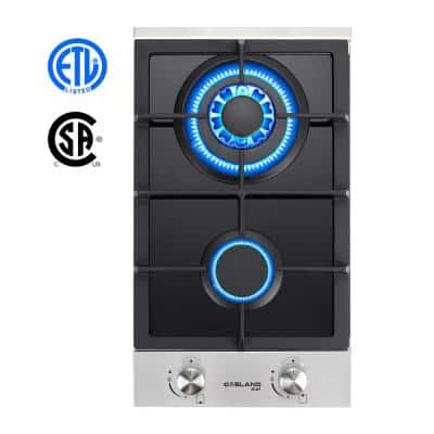 12 in. Built-in Gas Stove Top Liquid Propane Natural Gas Cooktop in Black Tempered Glass with 2 Sealed Burners, ETL