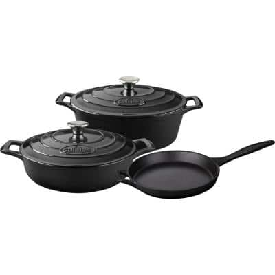 PRO Range 5-Piece Cast Iron Cookware Set in Slate Black