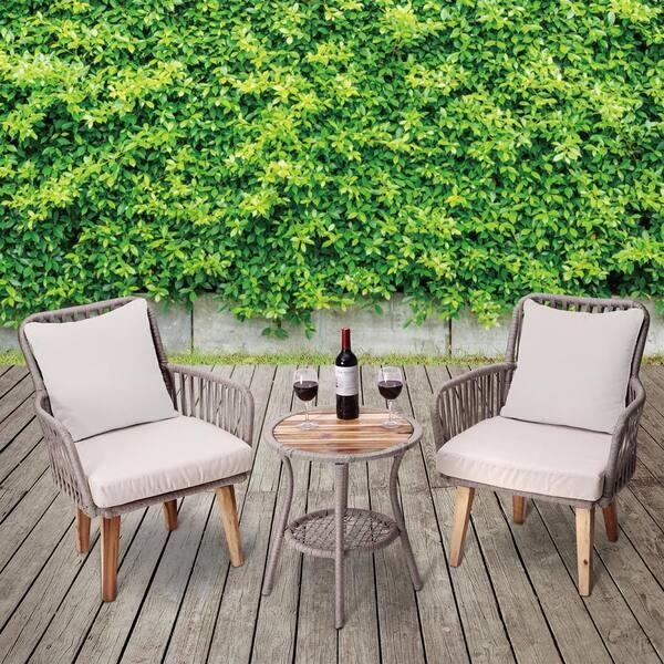 Peaktop 3 Piece Wicker Outdoor Patio, Peaktop 3 Piece Wicker Patio Set With Cushions