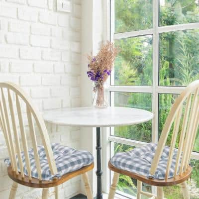 Buffalo Check Grey Checkered Tufted Seat Cushion Chair Pad (Set of 2)