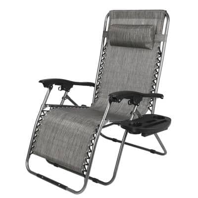 Zero Gravity Lounge Chair with Awning Leisure Chair Gray