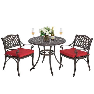 Antique Bronze 3-Piece Cast Aluminum Patio Conversation Set with Red Cushions