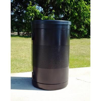 44 Gal. Black Trash Receptacle with Side Access Door