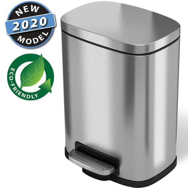 5 Liter Pedal Bathroom Bin, Stainless Steel Bathroom Garbage Can