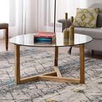 36 in. Oak Medium Round Glass Coffee Table
