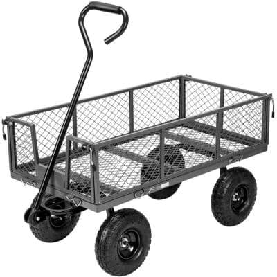 1100 lbs. Capacity Mesh Steel Garden Cart with Removable Sides and Wheels in Gray