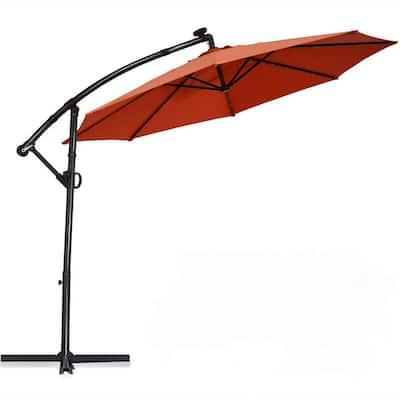 10 ft. 360° Rotation Aluminum Cantilever Solar Powered LED Patio Umbrella in Orange