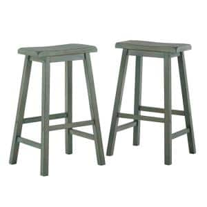 Antique Sage Saddle Seat 29 in. Bar Height Backless Stools (Set of 2)