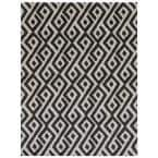 Printed Abstract Grey/White 6 ft. x 8 ft. Indoor/Outdoor Area Rug