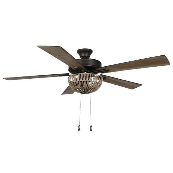 River Of Goods Zarah 52 In Led Indoor Brown Rope Ceiling Fan With Light 20040 The Home Depot