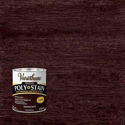 1 qt. Mahogany Satin Water-Based Interior Polyurethane and Stain (2-Pack)