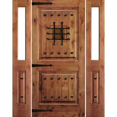 76 in. x 96 in. Mediterranean Alder Square Top Clear Low-E Unfinished Wood Left-Hand Prehung Front Door/Half Sidelites