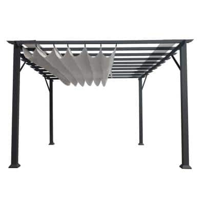 Florence 11 ft. x 11 ft. Grey Frame Pergola with Gray Canopy